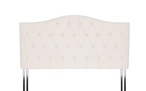 Classic Deluxe Tufted Fabric Headboard (Cal King, Ivory) (King Fabric Headboard California)