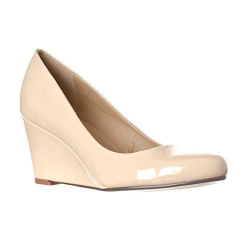 Riverberry Women's Leah Mid Heel Round Toe Wedge Pumps, Nude Patent, 9
