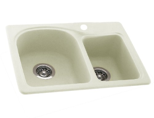 Swanstone KS02518DB.018 Solid Surface 1-Hole Dual Mount Double-Bowl Kitchen Sink, 25-in L X 18-in H X 7.5-in H, Bisque
