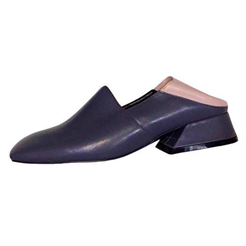 COOLCEPT Mujer Clasico Mixto Colores sin Cordones Holgazanes Zapatos Gris
