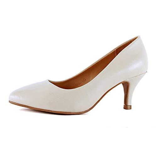 Guilty Heart | Womens Classic Pointy Toe Low Kitten Heel | Office Dress Slip On Fashion Pump | 22 Colors (7 M US, Beige ()