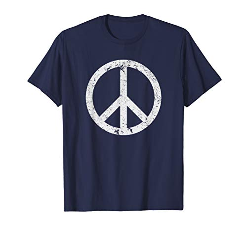 (Vintage Peace Sign White Distressed)