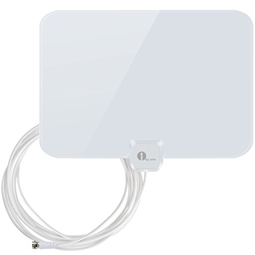 1byone 35 Miles Super Thin HDTV Antenna with 20ft High Performance Coax Cable, Shiny White