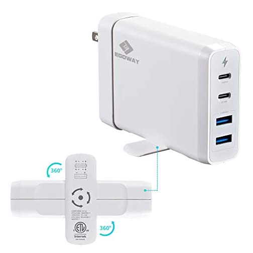 USB C Wall Charger, E EGOWAY 4-Port Charger with 60W & 18W USB C PD Power Delivery Adapter and Dual USB A Ports-12W  