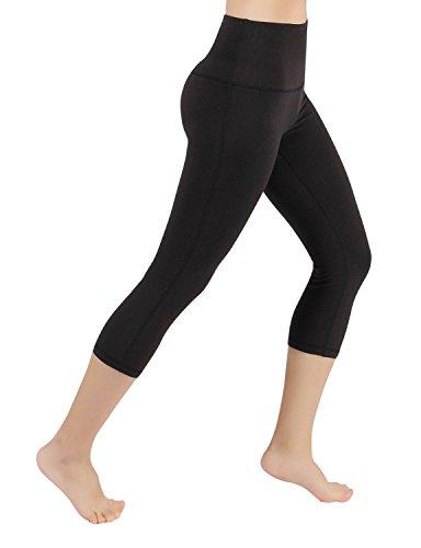 ODODOS Power Flex High-Waist Yoga Capris Tummy Control Workout Running Pant with Hidden Pocket,Black,Large