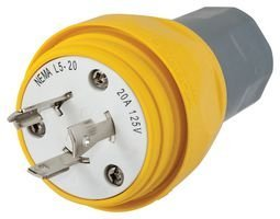 Hubbell Blade (HUBBELL WIRING DEVICES HBL26W47 STR BLADE PLUG, NEMA L5-20P, 20A, 125V)