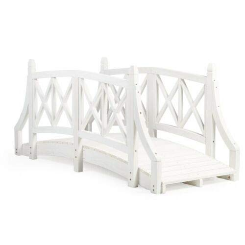 Home Improvements Country Farmhouse White Wood 6 Foot Garden Bridge Outdoor Yard Lawn Landscaping