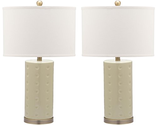 Beige Ceramic Table Lamp - Safavieh Lighting Collection Roxanne Crème 26-inch Table Lamp (Set of 2)