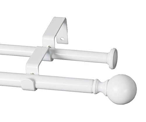 Urbanest Ball Adjustable Double Drapery Curtain Rod Set, 5/8