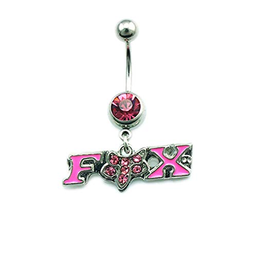 Flamingogogo Belly Button Rings Stainless Steel Barbell Dangle 2 Style Rhinestone Letter Fox Navel Piercing Jewelry,Silver