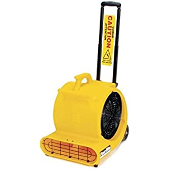 Powr-Flite PD500DX-YS Safety Carpet Dryer/Air Mover with Handle and Wheels, Caution Sign, 1/2 hp