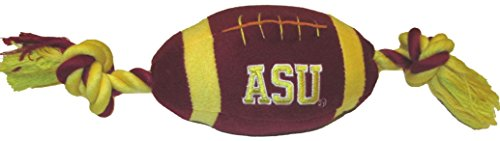 NCAA Arizona State Sun Devils Pet Football Rope Toy, 6-Inch Long Plush Dog Toy with Inner (Plush Ncaa Football)