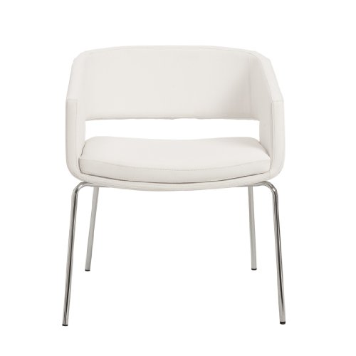 Eurø Style Amelia Mod 1960s Leatherette Lounge Chair with Chromed Base, White, Set of (Euro Metal Chair)