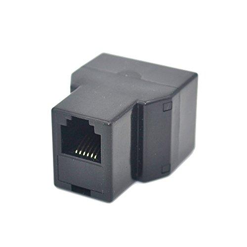 RJ12 6P6C 3Female Telephone Splitter Adapter Cable (Black)