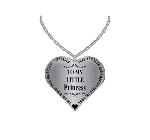 Father To Daughter Jewelry Heart Necklace - Silver Charm Pendant From Dad - Laser Engraved