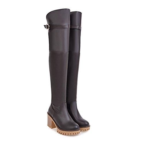 CXQ-Boots qin&X Women's Block High Heels Round Toe Long Boots Platform Shoes Brown O2uQkGF626