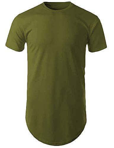 Mens Hipster Hip Hop Basic Long T-Shirt with Zipper Trim (Medium, 1mx02_Military Green)