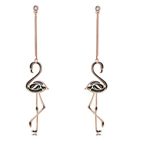 Gold Plated Pink Flamingo Drop Earrings Cute Bird Animal Earrings Jewelry for Women Girls Fashion Gifts (J:Long black flamingo)