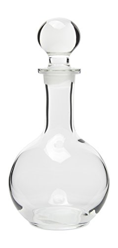 Hand Crafted Glass Liquor Decanter with Stopper, Small, 8 Oz (7.75