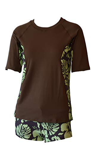 Private Island Hawaii Women UV Wetsuits Short Sleeve Rash Guard Top Brown with Green X-Large