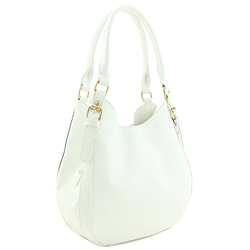 Light-weight 3 Compartment Faux Leather Medium Hobo Bag White by FashionPuzzle