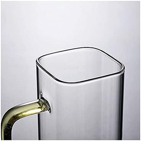 Taza de cristal con boca cuadrada y mango de color transparente (capacidad: 350 ml, color: azul)