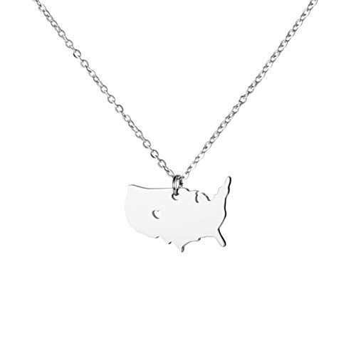 State Necklace Pendant Country Map Pendant Charm Jewelry Gift for Women Teens (New York Metropolitan Area) ()