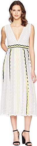 M Missoni Women's Ribbon Wave Stripe Dress White 44