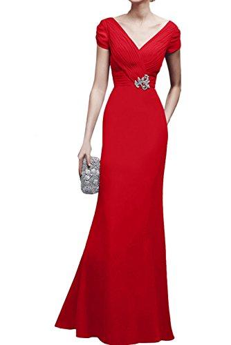 Festkleid Ivydressing Mit V Ausschnitt Partykleider Abendkleider Rueckenfrei Aermeln Damen Ballkleid Rot q70FqO6