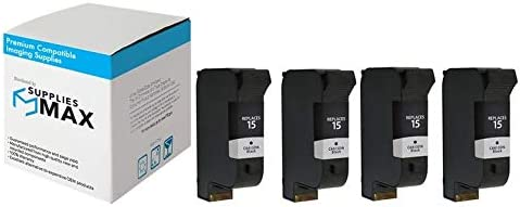 SuppliesMAX Compatible Replacement for HP DeskJet 810//825//840//845//920//940//3820//PSC-500//750//950 Black Inkjet C6615DN/_4PK 4//PK-500 Page Yield NO. 15