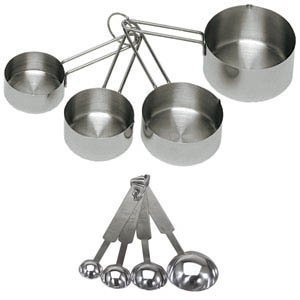 Update International 16-Piece Deluxe Stainless Steel Measuring Cup and Measuring Spoon Set