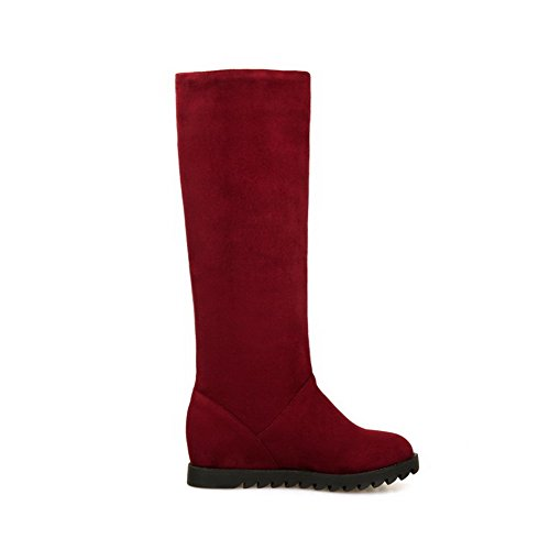AllhqFashion Womens Pull-on Round Closed Toe Kitten-Heels Imitated Suede High-top Boots Claret uqWFBstD3R