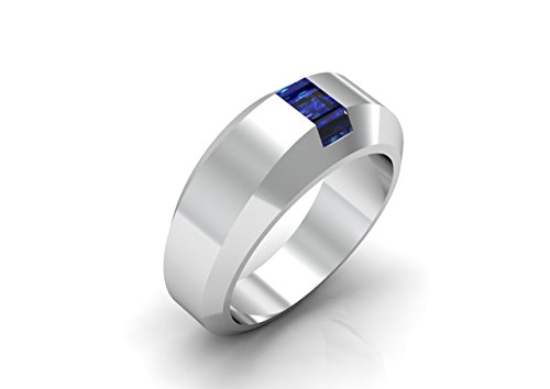 HILL St. - 14K White Gold Classic Engagement or Wedding Ring with Blue Sapphire