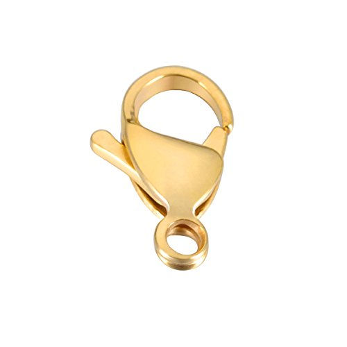 Shengyaju 10PCS Stainless Steel Lobster Clasps Gold Plated Jewelry Making Findings 15.5mmx9mm