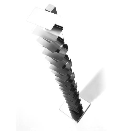 PTOLOMEO Büchersäule freistehend 215 cm kpl. Edelstahl/Fuß Edelstahl