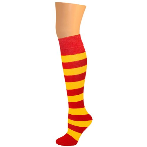 AJs Girls Striped Thick Knee Socks - Red/Gold Yellow (Red And Yellow Striped Knee High Socks)