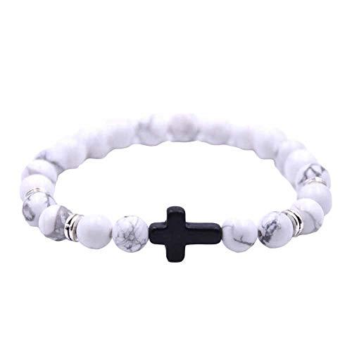- DFYtr511po Natural Stone Texture Bracelet Black Cross Fashion Unisex 6 Color Cross Charm Elastic Rope Bracelet White