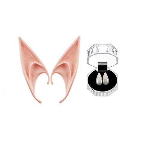 Anime Dress Up Halloween (Cosplay Vampire Fangs Teeth Elf Ears Set for Halloween Party, 15mm Props Zombie Tooth with Adhesive, Fairy Pixie Soft Ear, Anime Cosplay Costume Party Dress Up)