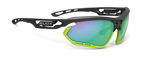 Rudy Project Fotonyk Matte Black Frame With Lime Bumpers and Polar 3FX HDR Multilaser Green - Sunglasses Rudy