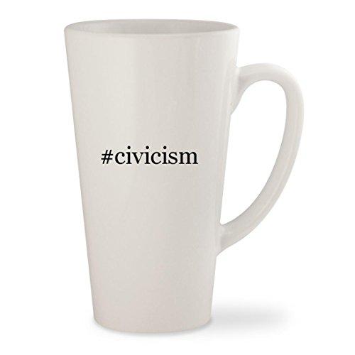 #civicism - White Hashtag 17oz Ceramic Latte Mug Cup
