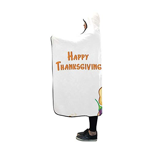 Casual Cards Correspondence (AIKENING Hooded Blanket Happy Thanksgiving Day Blanket 60x50 Inch Comfotable Hooded Throw Wrap)