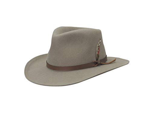 c02b1fa8 SCALA Classico Men's Crushable Felt Outback Hat (X-Large, Putty ...