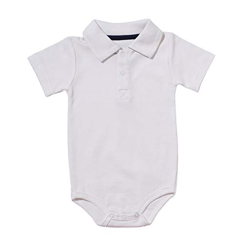 Baby Boys Pure Color Cotton Short Sleeve Polo Bodysuit 3-24 Months (3 Months, White) ()