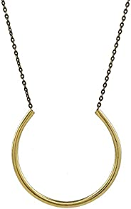 """Xena - Open Circle Gold Brass Statement Pendant Necklace - 27"""" Long"""