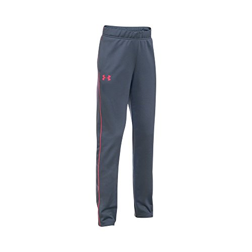 Under Armour Girls' Track Pants,Apollo Gray (962)/Penta Pink, Youth Large