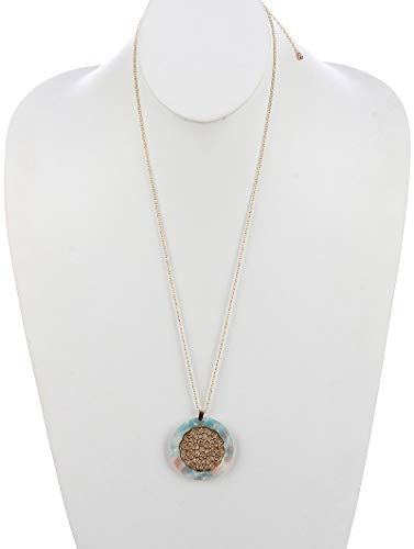 Maya's Grace Filigree Pattern Cutout Metal Lucite Stone Pendant Round Marble Finish Necklace - Marble Pendant Aqua