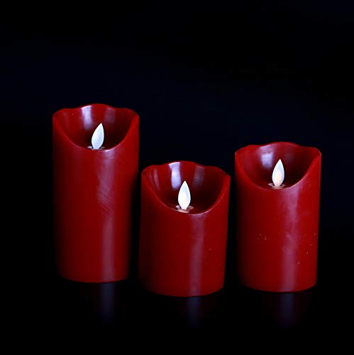Kitch Aroma Flameless Candles 4 5 6 Set of 3 Burgundy Color Real Wax Pillars Include Realistic Dancing LED Flames and 10-key Remote Control with Timer Function,Black Orchid Scented