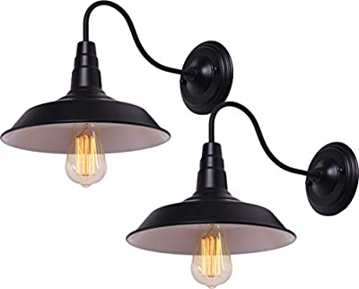 BRIGHTESS Retro Black Wall Sconce Lighting Gooseneck Barn Lights Industrial Vintage Farmhouse Wall Lamp Led Porch Light for Indoor Bathroom Hardwired (2 Packs)