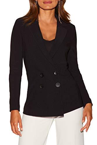 Boston Proper Women's Wrinkle-Resistant Solid Color Knit Double-Breasted Jacket Jet Black 10