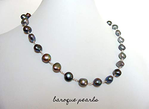Baroque pearl necklace, modern versatile handmade jewelry, 10-11mm black peacock pearls, wire wrapped strand, Let Loose Jewelry, 19 - Loose Pearl Strand